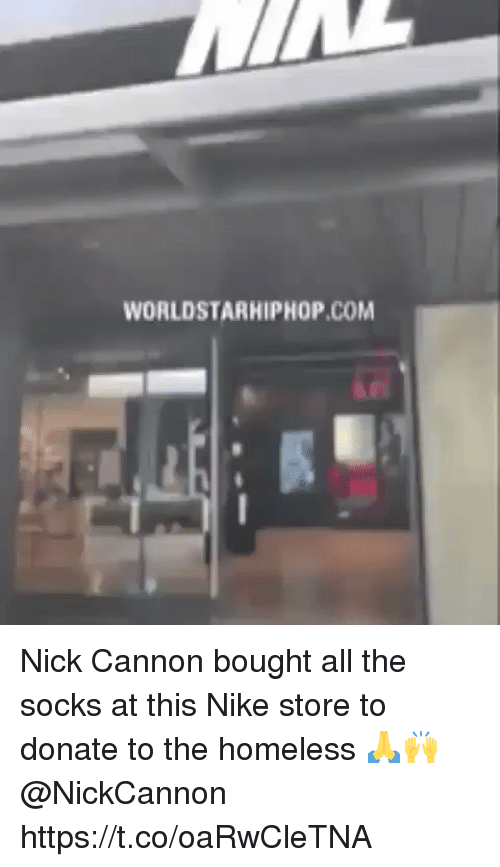worldstarhiphop.com: WORLDSTARHIPHOP.COM Nick Cannon bought all the socks at this Nike store to donate to the homeless 🙏🙌 @NickCannon https://t.co/oaRwCleTNA
