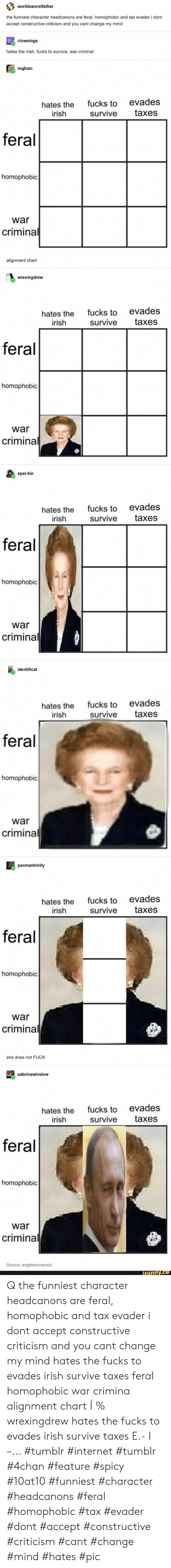 4chan, Internet, and Irish: worldsworstfather  the funniest character headcanons are feral, homophobic and tax evader i dont  accept constructive criticism and you cant change my mind  clownings  hates the irish, fucks to survive, war criminal  regbian  evades  fucks to  hates the  irish  taxes  survive  feral  homophobic  war  criminal  alignment chart  wrexingdrew  fucks to evades  hates the  irish  taxes  survive  feral  homophobic  war  criminal  spar-kie  fucks to evades  survive  hates the  irish  taxes  feral  homophobic  war  criminal  identificat  fucks to evades  hates the  irish  taxes  survive  feral  homophobic  war  criminal  pacmantrinity  fucks to evades  survive  hates the  irish  taxes  feral  homophobic  war  criminal  she does not FUCK  sabrinawinslow  fucks to evades  hates the  irish  taxes  survive  feral  homophobic  war  criminal  Source: angelwormwood  ifunny.co Q the funniest character headcanons are feral, homophobic and tax evader i dont accept constructive criticism and you cant change my mind hates the fucks to evades irish survive taxes feral homophobic war crimina alignment chart Í % wrexingdrew hates the fucks to evades irish survive taxes E.- I –... #tumblr #internet #tumblr #4chan #feature #spicy #10at10 #funniest #character #headcanons #feral #homophobic #tax #evader #dont #accept #constructive #criticism #cant #change #mind #hates #pic