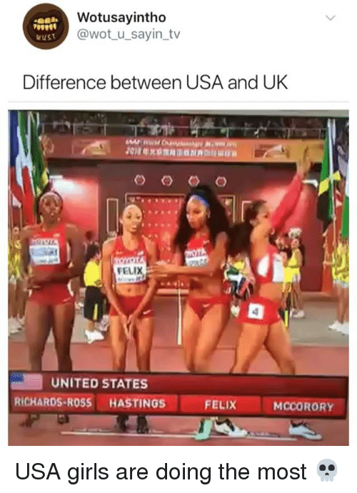 Girls, United, and Girl Memes: Wotusayintho  @wot u_sayin_tv  wust  Difference between USA and UK  FELIX  UNITED STATES  RICHARDS-ROSS HASTINGS  FELIX  MCCORORY USA girls are doing the most 💀
