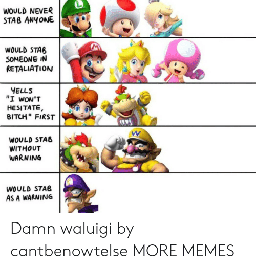 """Bitch, Dank, and Memes: WOULD NEVER  STAB ANYONE  WOULD STAB  SOMEONE IN  RETALIATION  YELLS  """"I wON'T  HESITATE,  BITCH"""" FIRST  WOULD STAB  WITHOUT  WARNING  WOULD STAB  AS A WARNING Damn waluigi by cantbenowtelse MORE MEMES"""