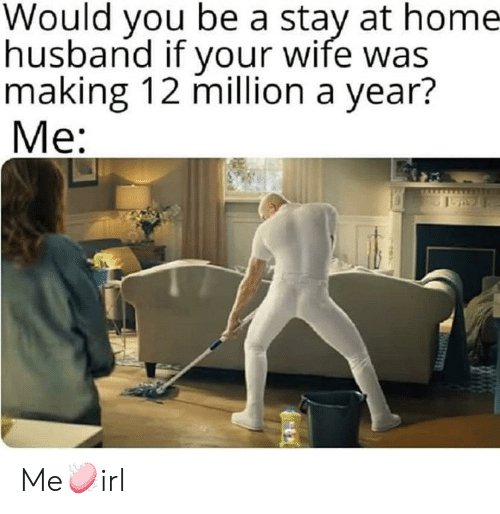 Stay At Home: Would you be a stay at home  husband if your wife was  making 12 million a year?  Me: Me🧼irl
