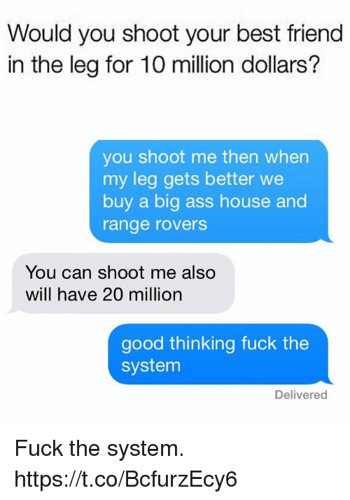 Ass, Best Friend, and Funny: Would you shoot your best friend  in the leg for 10 million dollars?  you shoot me then when  my leg gets better we  buy a big ass house and  range rovers  You can shoot me also  will have 20 million  good thinking fuck the  system  Delivered Fuck the system. https://t.co/BcfurzEcy6