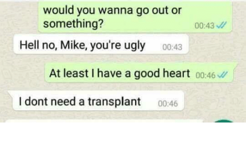Hells No: would you wanna go out or  something?  00:43  Hell no, Mike, you're ugly  00:43  At least I have a good heart 00:46  I dont need a transplant 0046