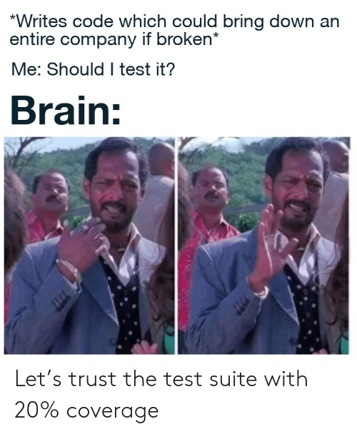 trust: *Writes code which could bring down an  entire company if broken*  Me: Should I test it?  Brain: Let's trust the test suite with 20% coverage
