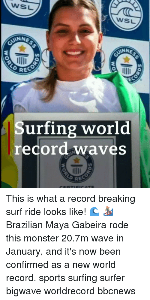 Memes, Monster, and Sports: WSL  WSL  ANN  RECO  EC  Surfing world  record waves This is what a record breaking surf ride looks like! 🌊 🏄♀️ Brazilian Maya Gabeira rode this monster 20.7m wave in January, and it's now been confirmed as a new world record. sports surfing surfer bigwave worldrecord bbcnews