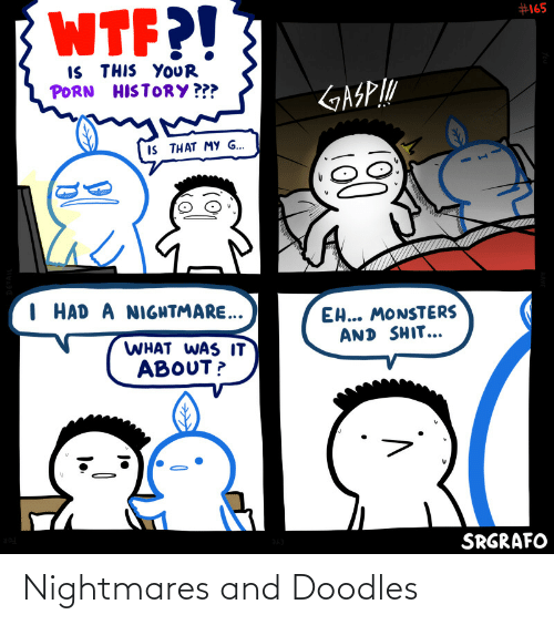 monsters: WTF?!  #165  IS THIS YOUR  PORN HISTORY ???  GASP!  II THAT MY G...  I HAD A NIGHTMARE..  EH... MONSTERS  AND SHIT...  WHAT WAS IT  ABOUT?  SRGRAFO  (వి Nightmares and Doodles