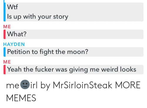Weird Looks: Wtf  Is up with your story  ME  What?   Petition to fight the moon?  Yeah the fucker was giving me weird looks  HAYDEN  ME me🌚irl by MrSirloinSteak MORE MEMES