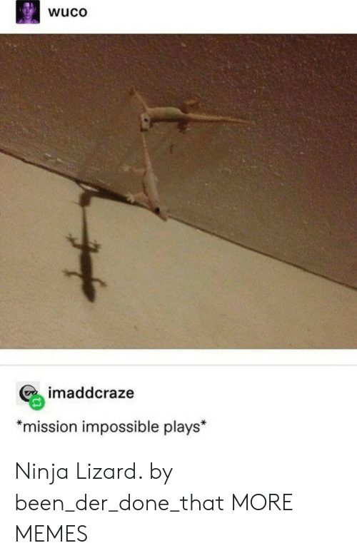 """Der: wuco  imaddcraze  *mission impossible plays"""" Ninja Lizard. by been_der_done_that MORE MEMES"""