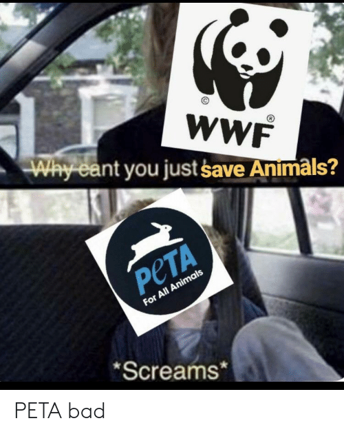 Animals, Bad, and Peta: WWF  Way ea  nt you just save Animals?  PeTA  For All Animals  Screams* PETA bad