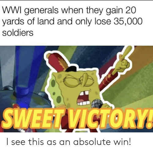 Soldiers, Wwi, and They: WWI generals when they gain 20  yards of land and only lose 35,000  soldiers  SWEETVICTORY I see this as an absolute win!