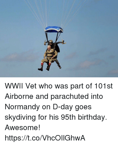 Birthday, Memes, and Awesome: WWII Vet who was part of 101st Airborne and parachuted into Normandy on D-day goes skydiving for his 95th birthday. Awesome! https://t.co/VhcOIlGhwA