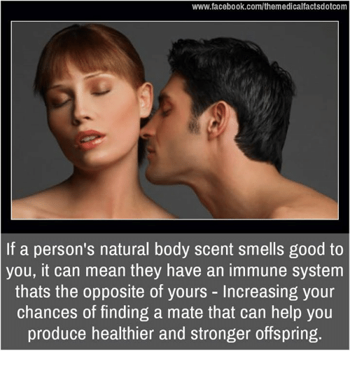 Memes, 🤖, and Offspring: www.facebook.com/themedicalfactsdotcom  If a person's natural body scent smells good to  you, can mean they have an immune system  thats the opposite of yours Increasing your  chances of finding a mate that can help you  produce healthier and stronger offspring.