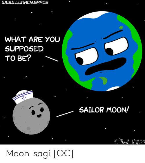 Moon: WWW.LUNACY.SPACE  WHAT ARE YOU  SUPPOSED  TO BE?  SAILOR MOON!  ( Mert 1/7/20 Moon-sagi [OC]