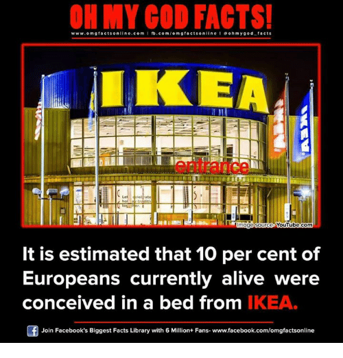 Conceivment: www.omg facts online.com I fb.com  omg facts online I ooh my god facts  IKEA  Oge Source-VouTube.Com  It is estimated that 10 per cent of  Europeans currently alive were  conceived in a bed from IKEA.  Of Join Facebook's Biggest Facts Library with 6 Million+ Fans- www.facebook.com/omgfactsonline