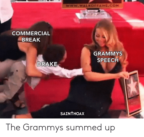 Summed Up: www.wWALKOFFAME.COM  COMMERCIAL  BREAK  GRAMMYS  SPEECH  DRAKE  SAINTHOAX The Grammys summed up