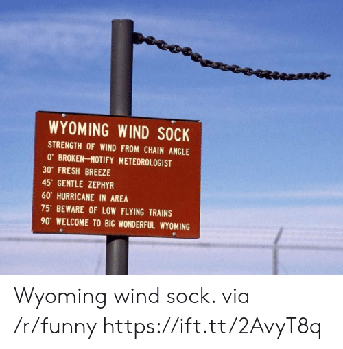 wyoming: WYOMING WIND SOCK  STRENGTH OF WIND FROM CHAIN ANGLE  0 BROKEN-NOTIFY METEOROLOGIST  30 FRESH BREEZE  45 GENTLE ZEPHYR  60 HURRICANE IN AREA  75' BEWARE OF LOW FLYING TRAINS  90 WELCOME TO BIG WONDERFUL WYOMING Wyoming wind sock. via /r/funny https://ift.tt/2AvyT8q