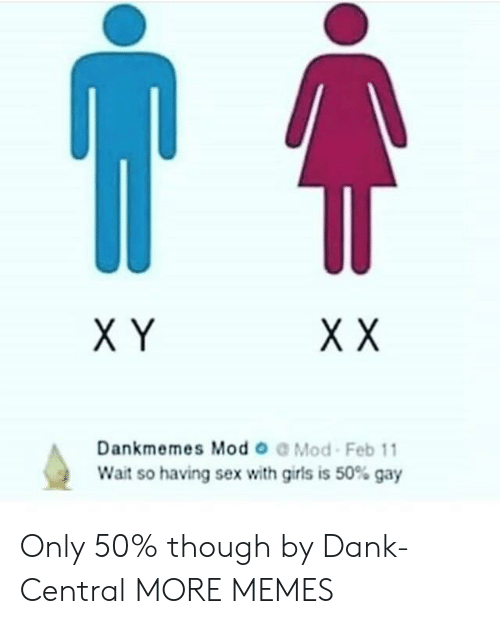 X Y: X Y  Dankmemes Mod o Mod Feb 11  Wait so having sex with girls is 50% gay Only 50% though by Dank-Central MORE MEMES