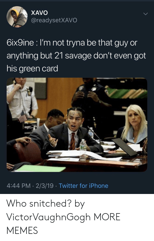 Dank, Iphone, and Memes: XAVO  @readysetXAVO  6ix9ine l'm not tryna be that guy or  anything but 21 savage don't even got  his green card  4:44 PM. 2/3/19 Twitter for iPhone Who snitched? by VictorVaughnGogh MORE MEMES