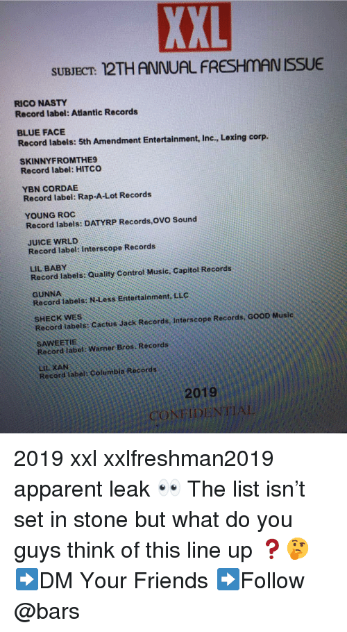 Friends, Juice, and Memes: XXL  SUBJECT: 12THANNUAL FRESHMAN ISSUE  RICO NASTY  Record label: Atlantic Records  BLUE FACE  Record labels: 5th Amendment Entertainment, Inc., Lexing corp  SKINNYFROMTHE9  Record label: HITCO  YBN CORDAE  Record label: Rap-A-Lot Records  YOUNG ROC  Record labels: DATYRP Records,OVO Sound  JUICE WRLD  Record label: Interscope Records  LIL BABY  Record labels: Quality Control Music, Capitol Records  GUNNA  Record 1abels N-Less Entertainment. LLC  SHECK WES  Record labels Cactus Jack Records, Interscope Records, GOOD Music  SAWEETIE  Record label: Warner Bros. Records  Record label Columbia Records  2019  CONFIDENTIAL 2019 xxl xxlfreshman2019 apparent leak 👀 The list isn't set in stone but what do you guys think of this line up ❓🤔 ➡️DM Your Friends ➡️Follow @bars