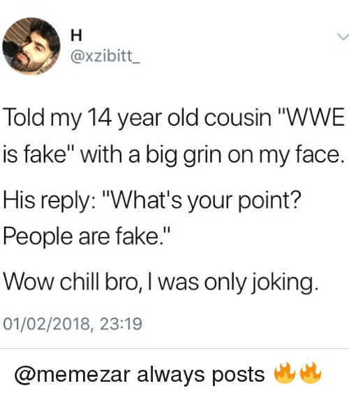 """Chill Bro: @xzibitt  Told my 14 year old cousin """"WWE  is fake"""" with a big grin on my face.  His reply: """"What's your point?  People are fake.""""  Wow chill bro, I was only joking  01/02/2018, 23:19 @memezar always posts 🔥🔥"""