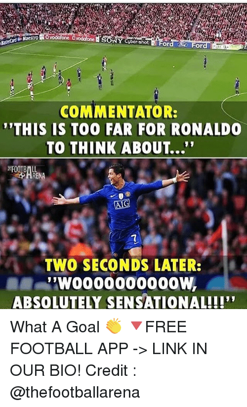 """Sensational: Y Cybershot  COMMENTATOR:  THIS IS TOO FAR FOR RONALDO  TO THINK ABOUT...""""  7  ヘ. TWO SECONDS LATER:  ABSOLUTELY SENSATIONAL!!! What A Goal 👏 🔻FREE FOOTBALL APP -> LINK IN OUR BIO! Credit : @thefootballarena"""