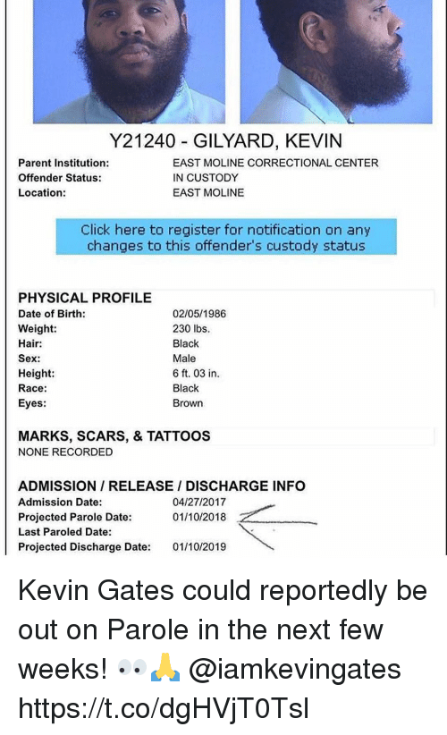 Click, Kevin Gates, and Sex: Y21240 GILYARD, KEVIN  Parent Institution:  Offender Status:  Location:  EAST MOLINE CORRECTIONAL CENTER  IN CUSTODY  EAST MOLINE  Click here to register for notification on any  changes to this offender's custody status  PHYSICAL PROFILE  Date of Birth:  Weight:  Hair:  Sex:  Height  Race:  Eyes:  02/05/1986  230 lbs.  Black  Male  6 ft. 03 in  Black  Brown  MARKS, SCARS, & TATTOOS  NONE RECORDED  ADMISSION/ RELEASE / DISCHARGE INFO  Admission Date:  Projected Parole Date:  Last Paroled Date:  Projected Discharge Date: 01/10/2019  04/27/2017  01/10/2018 Kevin Gates could reportedly be out on Parole in the next few weeks! 👀🙏 @iamkevingates https://t.co/dgHVjT0Tsl