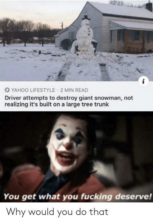 destroy: YAHOO LIFESTYLE 2 MIN READ  Driver attempts to destroy giant snowman, not  realizing it's built on a large tree trunk  You get what you fucking deserve! Why would you do that