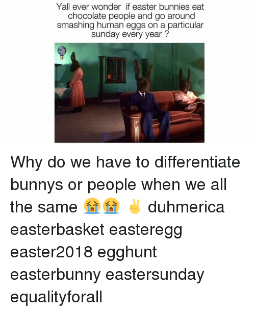 Bunnies, Easter, and Chocolate: Yall ever wonder if easter bunnies eat  chocolate people and go around  smashing human eggs on a particular  sunday every year? Why do we have to differentiate bunnys or people when we all the same 😭😭 ✌️ duhmerica easterbasket easteregg easter2018 egghunt easterbunny eastersunday equalityforall