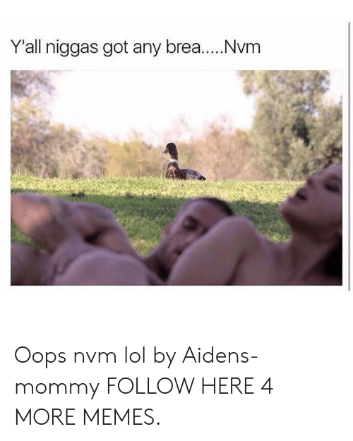 Brea: Yall niggas got any brea.....Nvm Oops nvm lol by Aidens-mommy FOLLOW HERE 4 MORE MEMES.