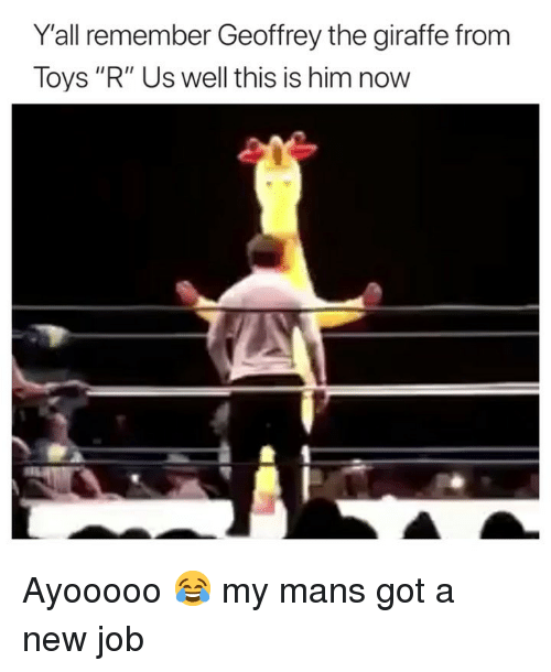 """Toys R Us: Y'all remember Geoffrey the giraffe from  Toys """"R"""" Us well this is him now Ayooooo 😂 my mans got a new job"""
