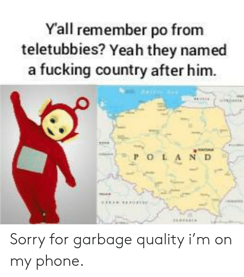 Fucking, Phone, and Sorry: Yall remember po from  teletubbies? Yeah they named  a fucking country after him.  POLA ND Sorry for garbage quality i'm on my phone.