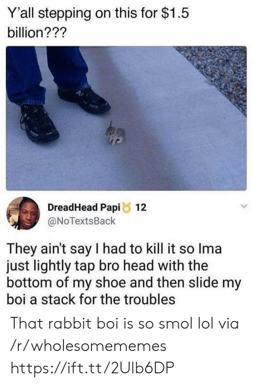 Kill It: Y'all stepping on this for $1.5  billion???  DreadHead Papi 12  @NoTextsBack  They ain't say I had to kill it so Ima  just lightly tap bro head with the  bottom of my shoe and then slide my  boi a stack for the troubles That rabbit boi is so smol lol via /r/wholesomememes https://ift.tt/2Ulb6DP