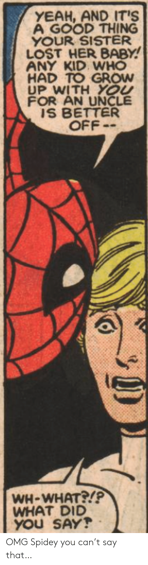 Spidey: YEAH, AND IT'S  A GOOD THING  YOUR SISTER  LOST HER BABY!  ANY KID WHO  HAD TO GROW  UP WITH YOU  FOR AN UNCLE  IS BETTER  OFF-  WH-WHAT?!P  WHAT DID  YOU SAY! OMG Spidey you can't say that…