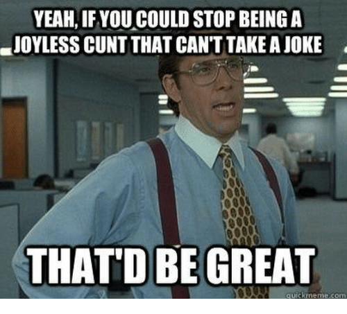 Thatd Be Great: YEAH, IFYOU COULD STOP BEING A  JOYLESS CUNT THAT CAN'T TAKE A JOKE  THAT'D BE GREAT  quickmeme.com