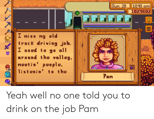 Told: Yeah well no one told you to drink on the job Pam