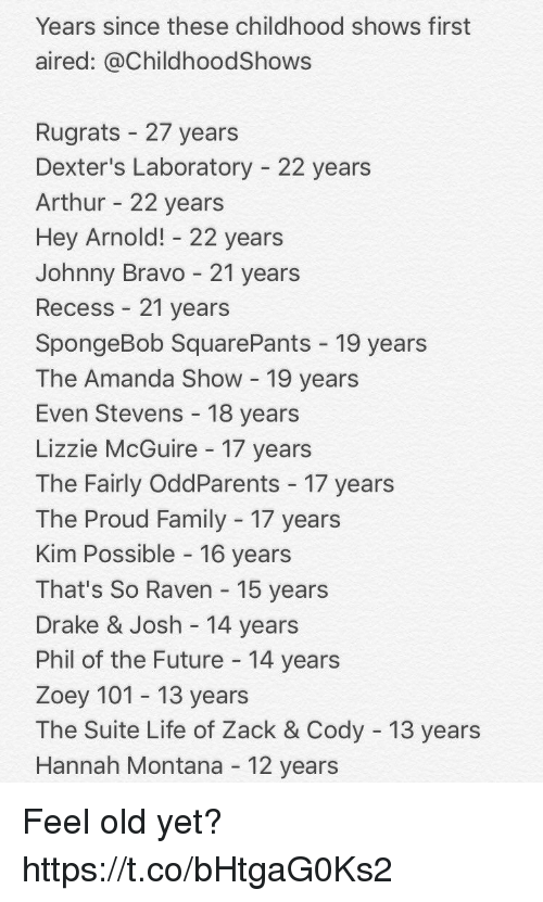 suite life: Years since these childhood shows first  aired: @ChildhoodShows  Rugrats 27 years  Dexter's Laboratory 22 years  Arthur 22 years  Hey Arnold! 22 years  Johnny Bravo 21 years  Recess 21 years  SpongeBob SquarePants 19 years  The Amanda Show 19 years  Even Stevens 18 years  Lizzie McGuire 17 years  The Fairly OddParents 17 years  The Proud Family 17 years  Kim Possible 16 years  That's So Raven 15 years  Drake & Josh 14 years  Phil of the Future 14 years  Zoey 101 13 years  The Suite Life of Zack & Cody 13 years  Hannah Montana 12 years Feel old yet? https://t.co/bHtgaG0Ks2