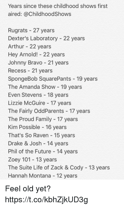 Arthur, Drake, and Drake & Josh: Years since these childhood shows first  aired: @ChildhoodShows  Rugrats 27 years  Dexter's Laboratory 22 years  Arthur 22 years  Hey Arnold! 22 years  Johnny Bravo 21 years  Recess 21 years  SpongeBob SquarePants 19 years  The Amanda Show 19 years  Even Stevens 18 years  Lizzie McGuire 17 years  The Fairly OddParents 17 years  The Proud Family 17 years  Kim Possible 16 years  That's So Raven 15 years  Drake & Josh 14 years  Phil of the Future 14 years  Zoey 101 13 years  The Suite Life of Zack & Cody 13 years  Hannah Montana 12 years Feel old yet? https://t.co/kbhZjkUD3g