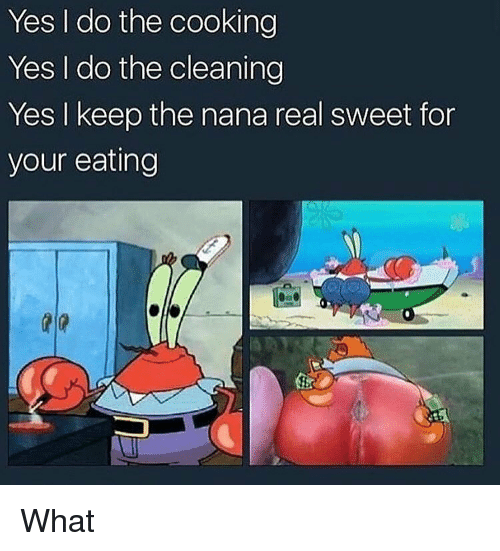 Dank, Nana, and Yes: Yes I do the cooking  Yes I do the cleaning  Yes I keep the nana real sweet for  your eating What