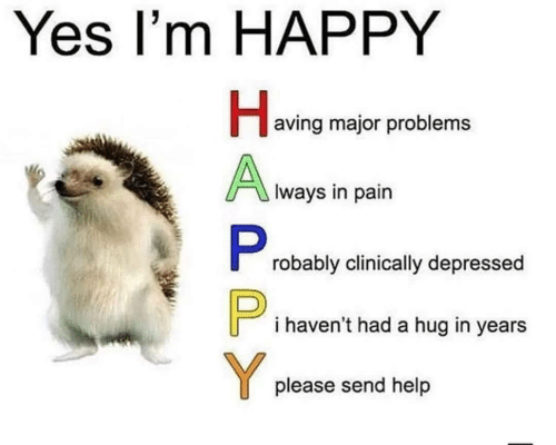 Happy, Help, and Im Happy: Yes I'm HAPPY  aving major problems  Iways in pain  robably clinically depressed  i haven't had a hug in years  please send help