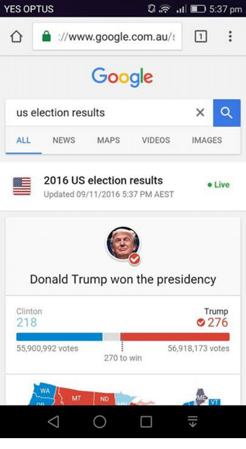 Trump Clinton: YES OPTUS  5:37 pm  ://www.google.com.au  Google  us election results  ALL.  NEWS  MAPS  VIDEOS  MAGES  E 2016 US election results  Live  Updated 09/11/2016 5:37 PM AEST  Donald Trump won the presidency  Trump  Clinton  218  276  55,900,992 votes  56,918,173 votes  270 to win