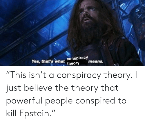 "Powerful, Conspiracy, and Conspiracy Theory: Yes, that's what conspiracy  theory  means. ""This isn't a conspiracy theory. I just believe the theory that powerful people conspired to kill Epstein."""
