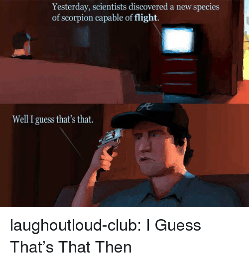 Club, Tumblr, and Blog: Yesterday, scientists discovered a new species  of scorpion capable of flight.  Well I guess that's that. laughoutloud-club:  I Guess That's That Then