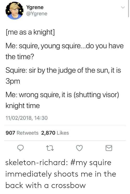 judge: Ygrene  @Ygrene  [me as a knight]  Me: squire, young squire...do you have  the time?  Squire: sir by the judge of the sun, it is  Зрт  Me: wrong squire, it is (shutting visor)  knight time  11/02/2018, 14:30  907 Retweets 2,870 Likes skeleton-richard:  #my squire immediately shoots me in the back with a crossbow