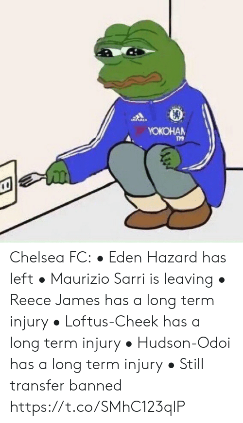 Chelsea, Soccer, and Yo: YOКОНАN Chelsea FC:  • Eden Hazard has left • Maurizio Sarri is leaving  • Reece James has a long term injury            • Loftus-Cheek has a long term injury  • Hudson-Odoi has a long term injury • Still transfer banned https://t.co/SMhC123qlP