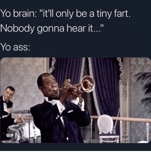 "Ass, Gif, and Yo: Yo brain: ""it'll only be a tiny fart  Nobody gonna hear it...""  Yo ass:  GIF"
