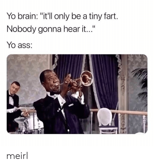 "Ass, Yo, and Brain: Yo brain: ""itll only be a tiny fart.  Nobody gonna hear it...""  Yo ass: meirl"