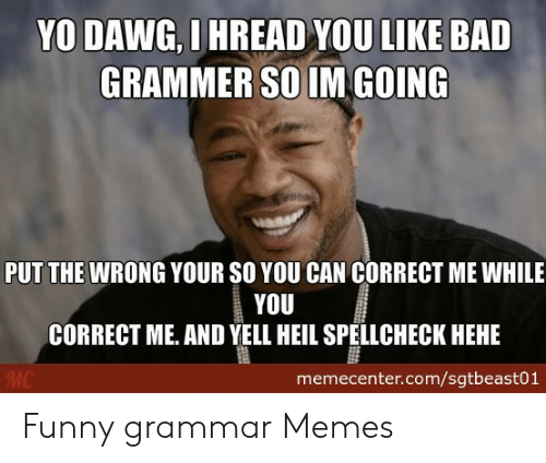 Bad Spelling Meme: YO DAWG, I HREAD YOU LIKE BAD  GRAMMER SO IM GOING  PUT THE WRONG YOUR SO YOU CAN CORRECT ME WHILE  YOU  CORRECT ME. AND YELL HEIL SPELLCHECK HEHE  memecenter.com/sgtbeast01 Funny grammar Memes
