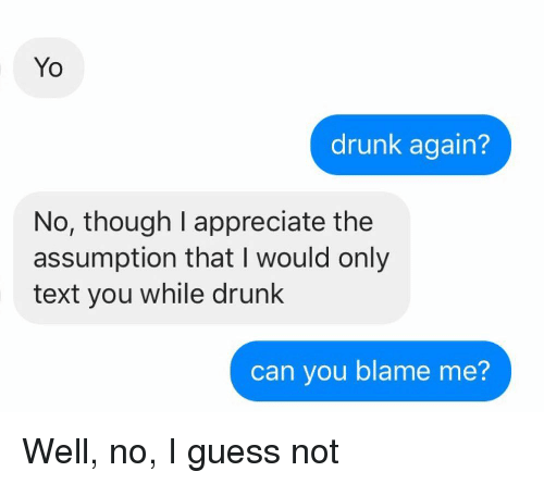 guess not: Yo  drunk again?  No, though I appreciate the  assumption that I would only  text you while drunk  can you blame me? Well, no, I guess not