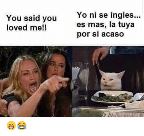 ingles: Yo ni se ingles...  es mas, la tuya  por si acaso  You said you  loved me!! 😁😂
