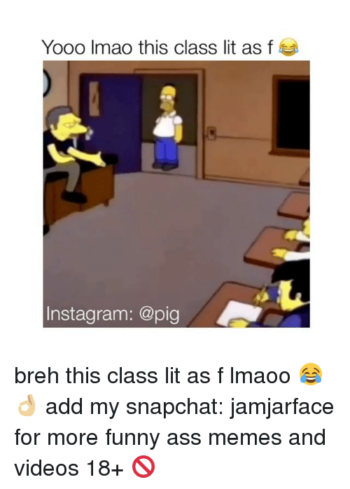funny ass memes: Yooo Imao this class lit as f  nstagram: @pig breh this class lit as f lmaoo 😂👌🏼 add my snapchat: jamjarface for more funny ass memes and videos 18+ 🚫